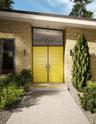 Yellow, double front doors on a modern home
