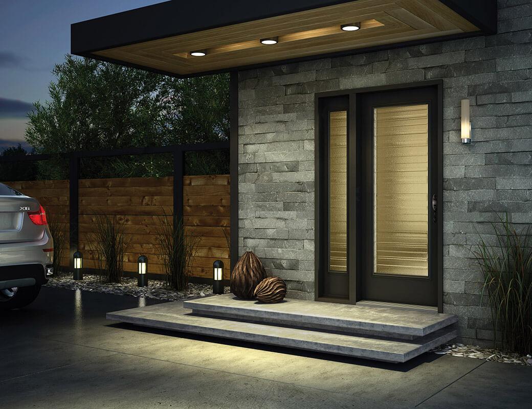 Modern Black Steel Entry Door On A Brick Home ...