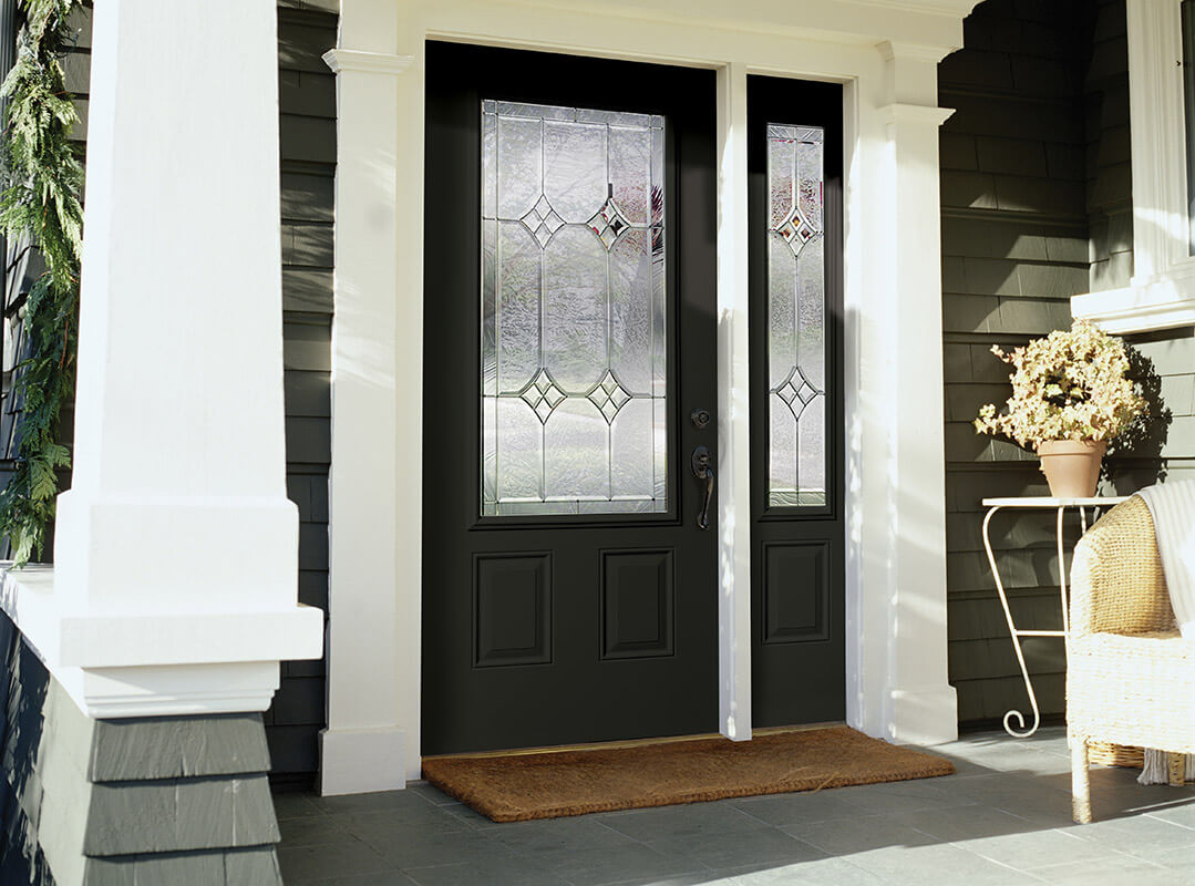 Black Front Door With Half Glass Insert Single Right Sidelite