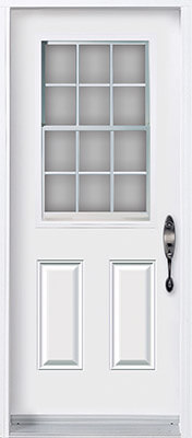 Traditional white door with half glass insert and contour grilles