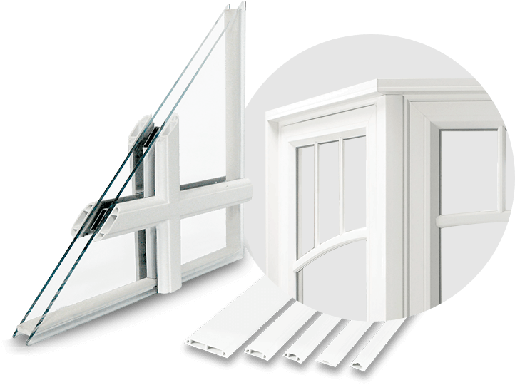A cut-out of a replacement window with external grills and a zoomed in area to see the features and construction of the grills.