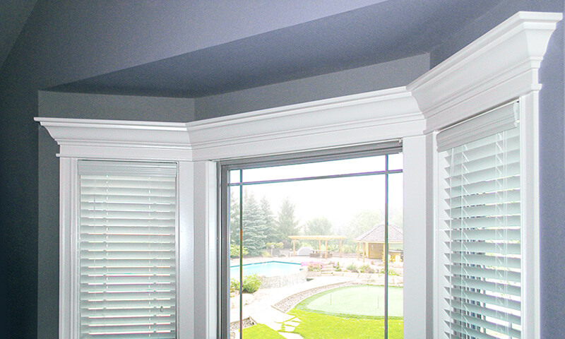 Interior view of custom window finishes on a casement window.
