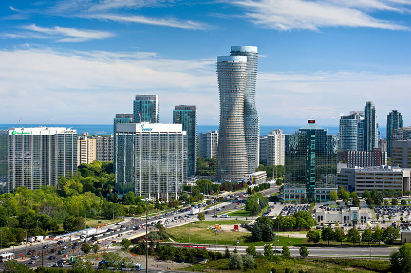 A view of the famous City Centre in Mississauga, Ontario.