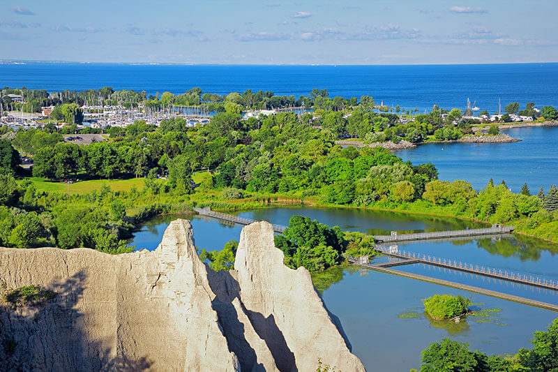 An aerial view of the Scarborough Bluffs in Scarborough Ontario.