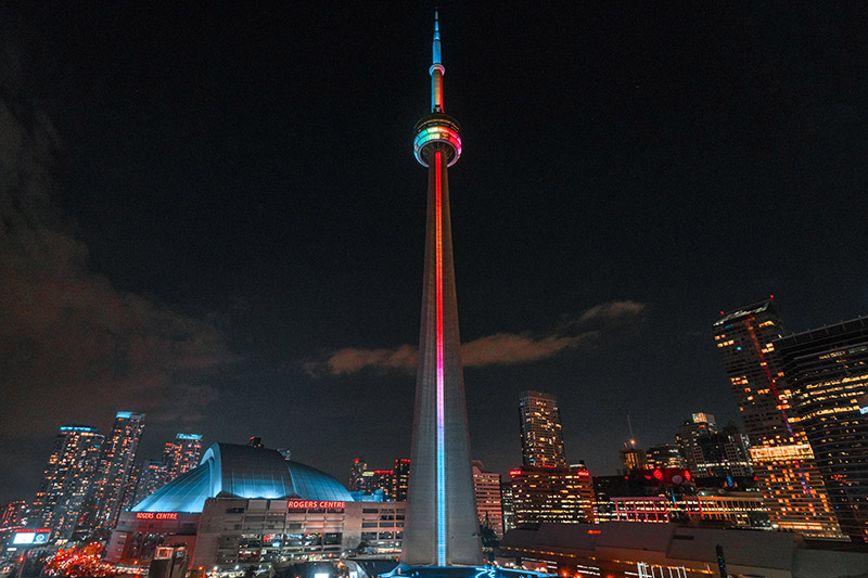 A view of the CN Tower in downtown Toronto.