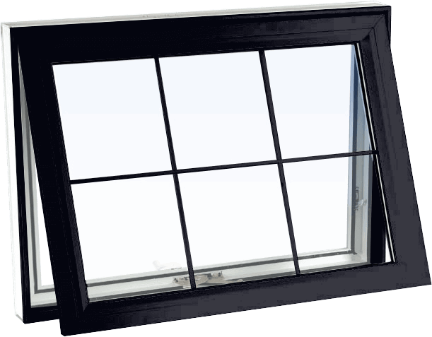 Custom black color vinyl replacement awning window