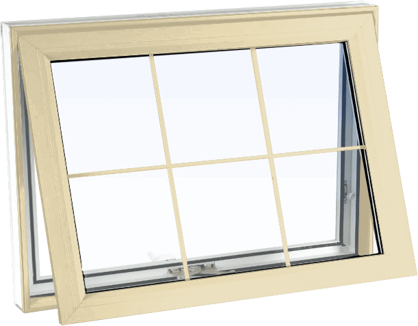Custom cream color vinyl replacement awning window
