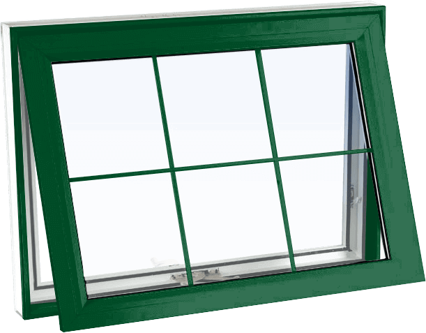 Custom forest green color vinyl replacement awning window