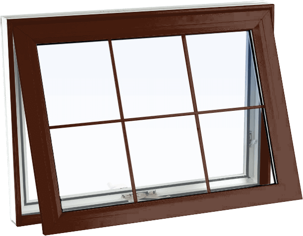 Custom high gloss brown color vinyl replacement awning window