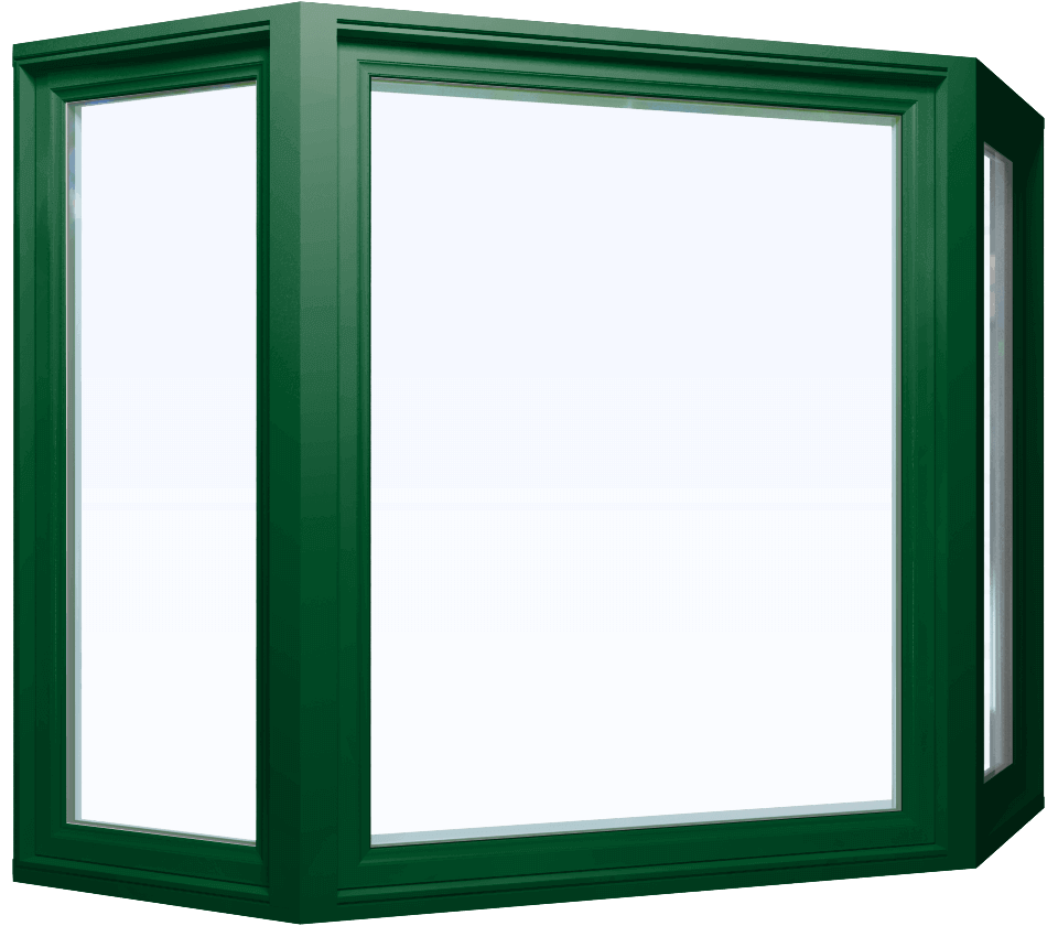 Custom forest green color vinyl replacement bay window