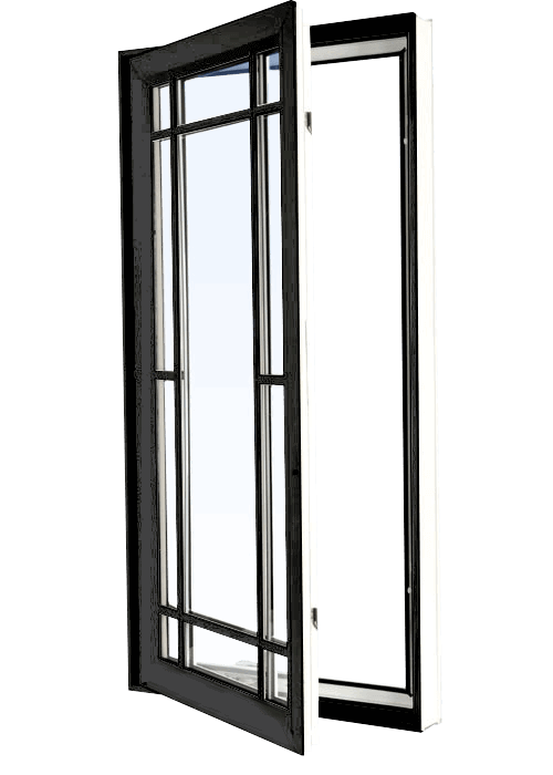 Custom black color vinyl replacement casement window