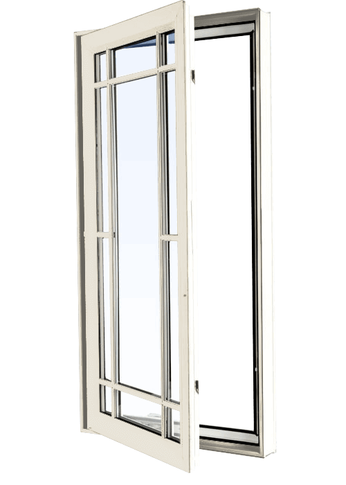 Custom cashmere color vinyl replacement casement window