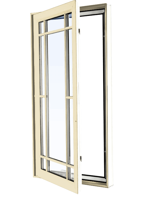 Custom cream color vinyl replacement casement window