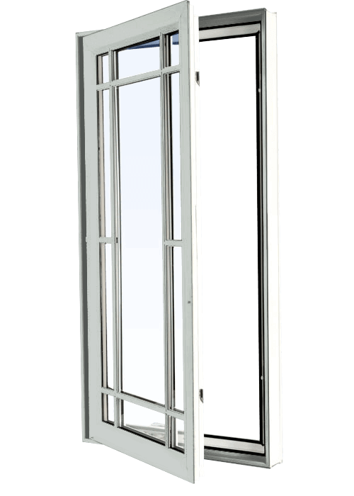 Custom dover grey color vinyl replacement casement window