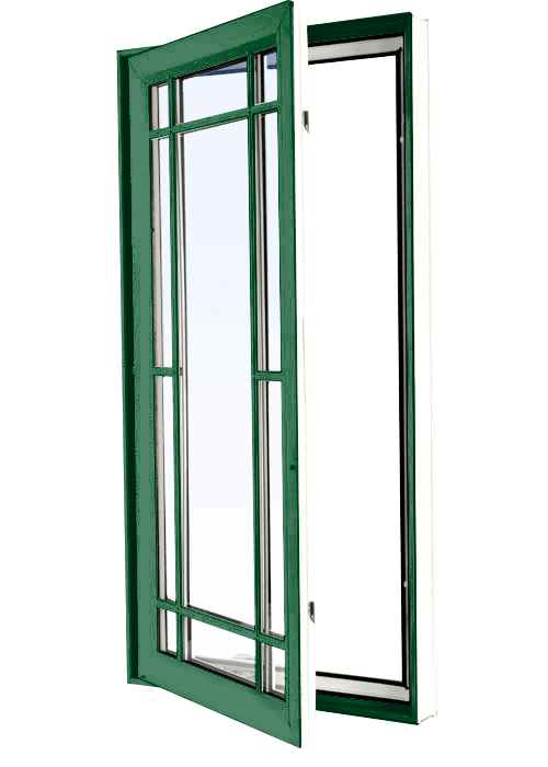 Custom forest green color vinyl replacement casement window