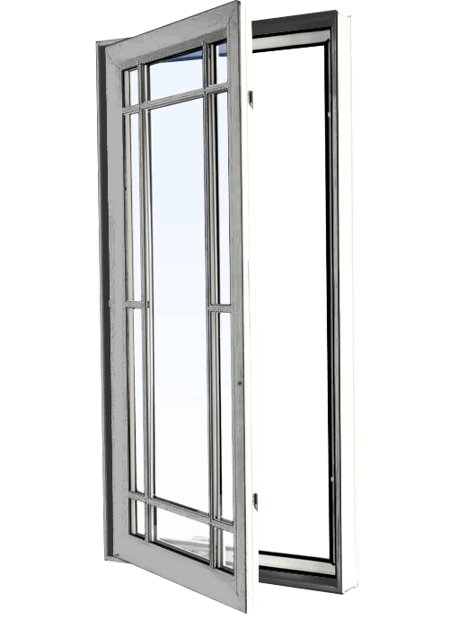 Custom grey color vinyl replacement casement window