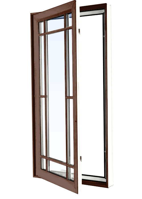 Custom high gloss brown color vinyl replacement casement window