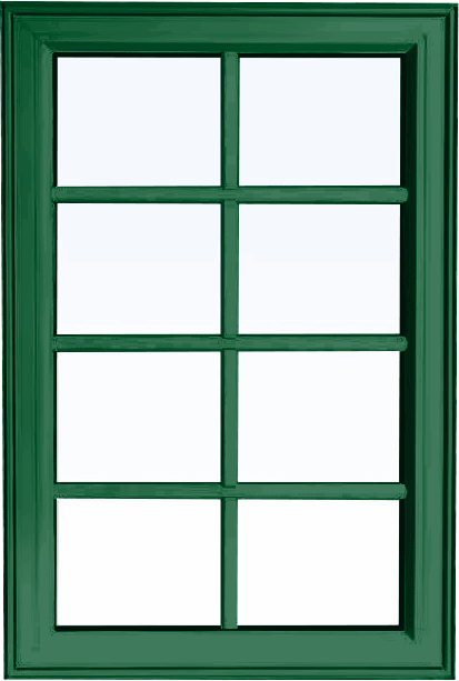Custom forest green color PVC fixed shaped window