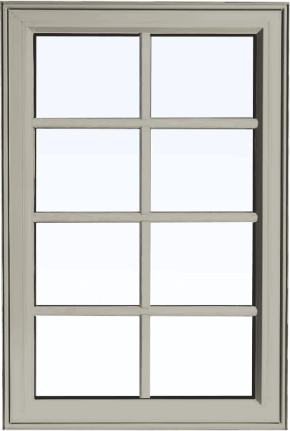 Custom hickory color PVC fixed shaped window