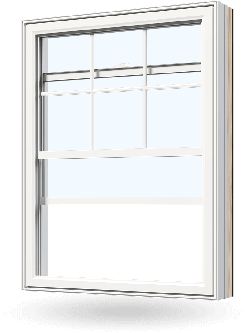 Double hung replacement window made of vinyl / PVC