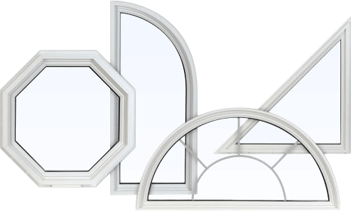 Multiple custom-shaped PVC replacement windows in different shapes and sizes.