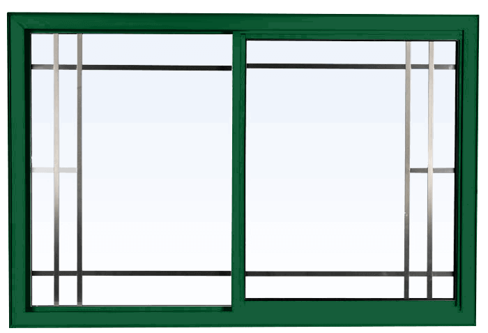 Custom forest green color vinyl replacement sliding window